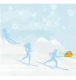 people go skiing in the winter day vector image