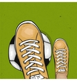 Soccer player holding foot ball on the green lawn vector image