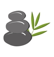grey rock and green tree leaves graphic vector image
