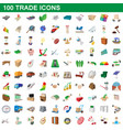 100 trade icons set cartoon style vector image vector image