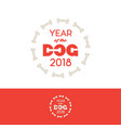 2018 year of the dog logo bones frame vector image vector image