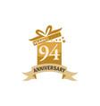 94 years gift box ribbon anniversary vector image vector image