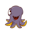 adorable purple octopus with happy face expression vector image