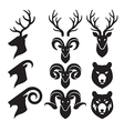 Animal Horn and Head Icons Set Goat Deer and Bear vector image vector image