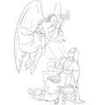 annunciation coloring page angel and mary cartoon vector image