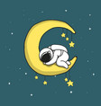 baby astronaut sleeps on crescent moon vector image vector image