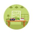 bookshelf icon cartoon vector image vector image