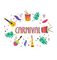 carnival with drums and guitar with maracas vector image vector image