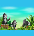 cartoon of gorilla group in a beautiful park vector image vector image