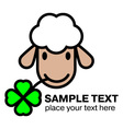 Cartoon white sheep eating a four leaf clover vector image