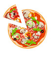classic pizza with mushrooms olives basil vector image