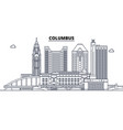 columbus united states outline travel skyline vector image vector image