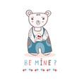 cute cartoon teddy bear with love letter vector image