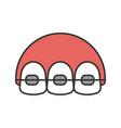 dental braces color icon vector image vector image