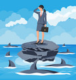 desperate business woman against shark vector image vector image