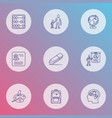 education icons line style set with primary school vector image