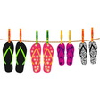 Family flip flops with rope and clothespins vector image