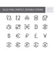 finance currency exchange simple line icons vector image