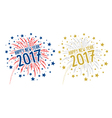 Firework with Happy new year 2017 on white backgro vector image vector image