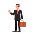 flat design character businessman with briefcase vector image