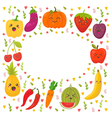 Fresh happy fruits and vegetables Frame for your vector image vector image