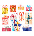 gift boxes set presents isolated on white vector image vector image