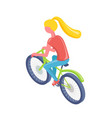 girl riding bicycle eco transport active vector image vector image