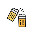 glasses with drinks cheers flat color line icon vector image vector image