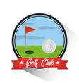golf club ball hole flag banner emblem vector image