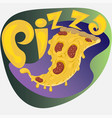 hand drawn pizza logo or sticker with the vector image