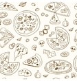 hand drawn seamless patternwith pizza vector image vector image