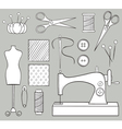 Hand Drawn Sewing Set vector image