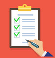 hand filling checklist on clipboard vector image vector image