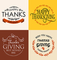 Happy Thanksgiving Day logotype badge and icon set vector image vector image