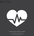 heart pulse premium icon white on dark background vector image vector image