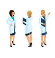 isometry a woman medical workers vector image vector image