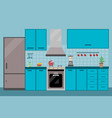 kitchen interior dining flat with stove fridge vector image