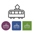 line icon tram in different variants vector image vector image