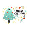 merry christmas card with a cute tree funny vector image vector image