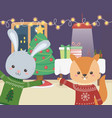 merry christmas celebration rabbit and squirrel vector image