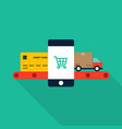 mobile marketing e-commerce and shopping online vector image vector image
