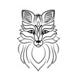 muzzle of a fox line sketch vector image