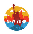 new york city logo design with statue of liberty vector image vector image