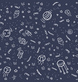 night space with stars planets satellite pattern vector image vector image