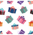 pattern colorful gift box with bow ribbon vector image