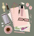personal diary on table womens glamorous vector image vector image