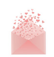 pink envelope with hearts vector image