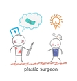 plastic surgeon thinks about money and listening vector image vector image