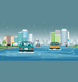 rain flooded the city vector image vector image