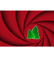Red christmas background with two christmas tree vector image vector image